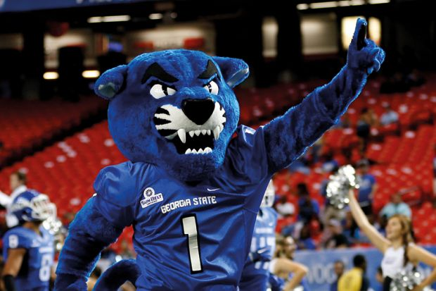 The Georgia State mascot leads the GSU team onto the field before the season-opening game for Georgia State University