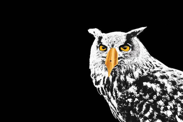 Owl with pen nib as beak
