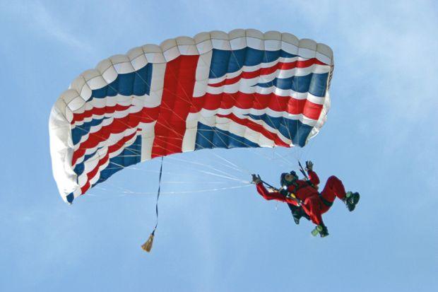 parachute with union jack flag
