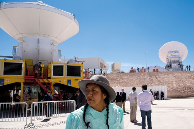 ALMA (Atacama Large Millimeter/submillimeter Array) project radio telescope antennas