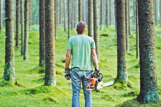 Man holding a chainsaw in a forest