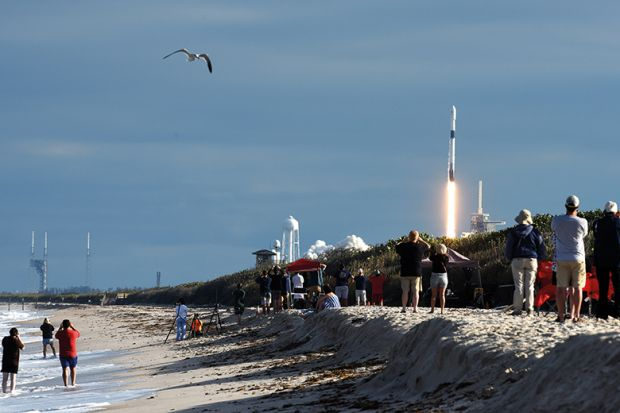 SpaceX Falcon 9 rocket launches at Canaveral National Seashore