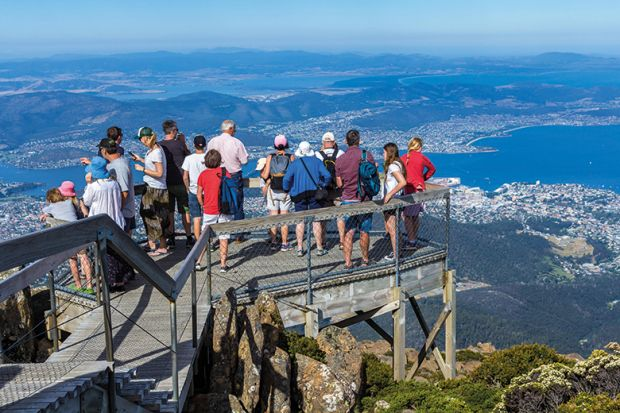 Crowd of tourists on Mount Wellington