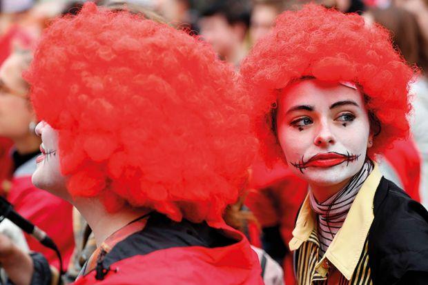 People dressed as clowns
