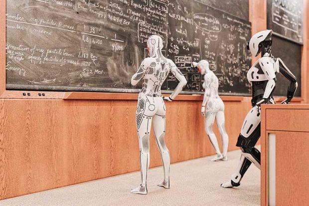 Robots at a blackboard