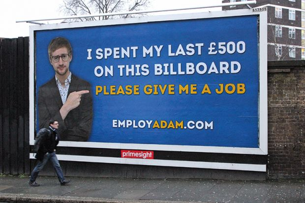 A billboard with a job plea advertisement