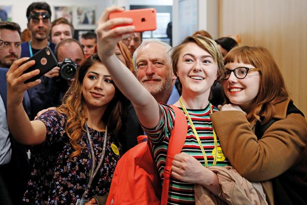 Jeremy Corbyn, The Leader Of Britainu0027s Opposition Labour Party, Poses For  Selfies At A