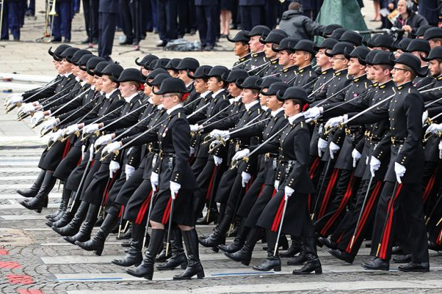 Students of the Ecole Polytechnique school march during the traditional Bastille Day military parade. France