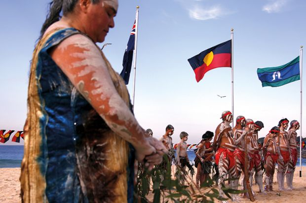Traditonally dressed Australian Aboriginal performers participate in a 'Corroboree'