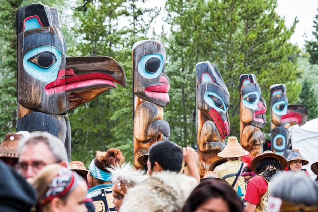 People at the Tlingit Celebration in Teslin, Yukon, Canada