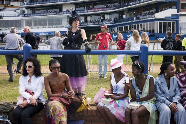 South African's attend the annual Durban July horse race, in Durban, South Africa
