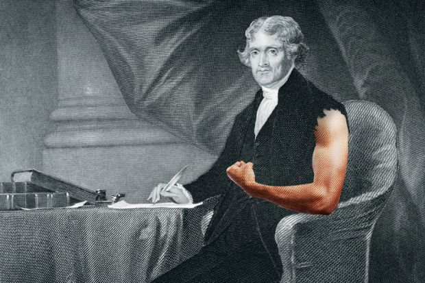 Thomas Jefferson with bare arm