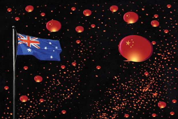 Australian flag with Chinese speech bubbles / lanterns
