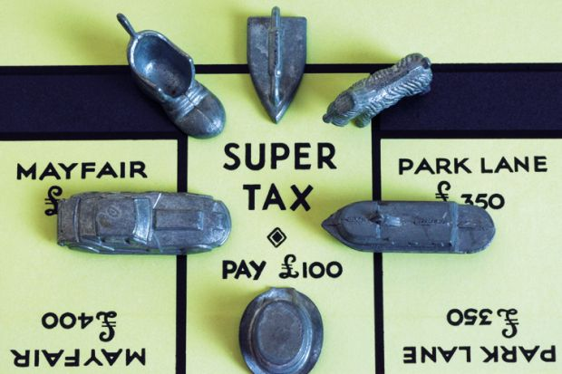 Super Tax on a Monopoly board