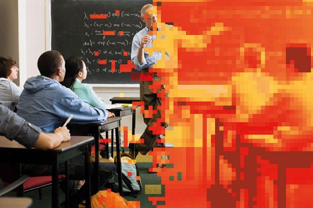 Lecturer in classroom, half pixelated