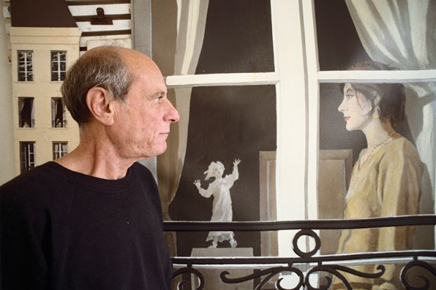 Man and and windows in trompe l'oeil style