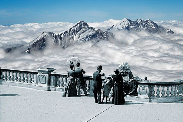 Montage of historical people wearing top hats and holding parasols overlooking mountain peaks and clouds.
