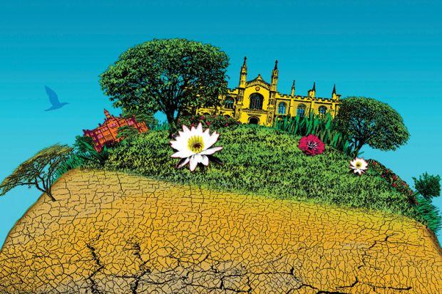Climate change and university illustration