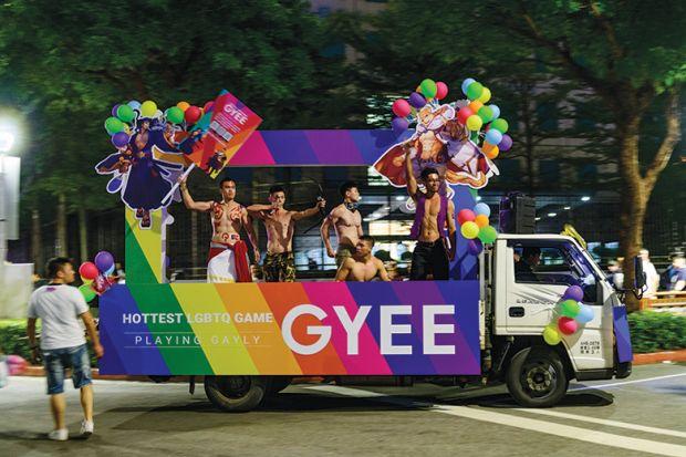 A float  advertising LGBT video games at the Taiwan 2019 LGBT Pride Parade