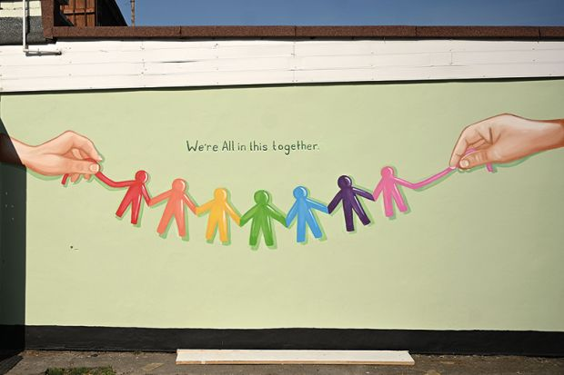 """We're all in this together"" mural. Covid-19. UK"