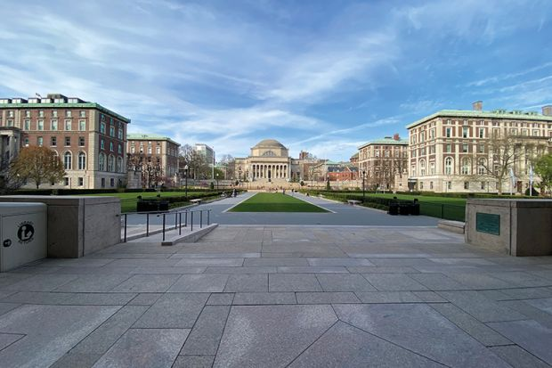 A wide view of the campus lawn at Columbia University during the coronavirus pandemic on April 14, 2020 in New York City.