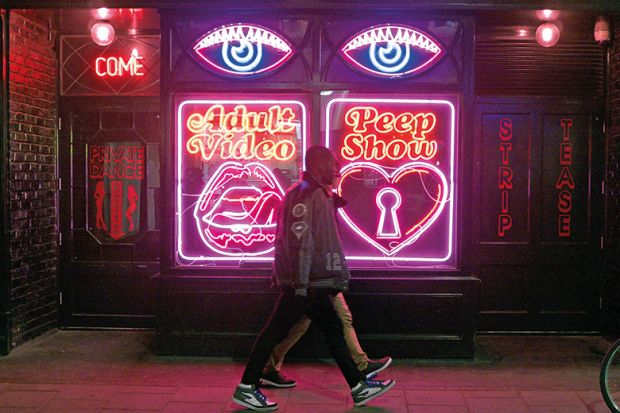 Neon signs on the exterior of La Bodega Negra, Soho, London