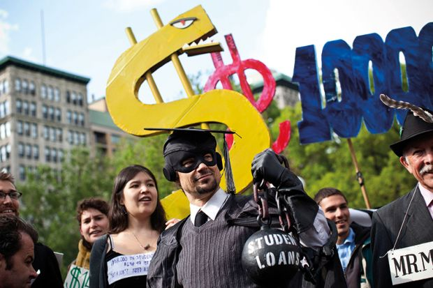 protest against the rising national student debt USA