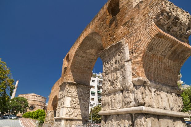 The Arch of Galerius in Thessaloniki, Greece to illustrate the UK and Greece establishing a new transnational education partnership