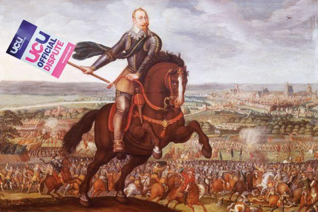 A man holding a UCU banner