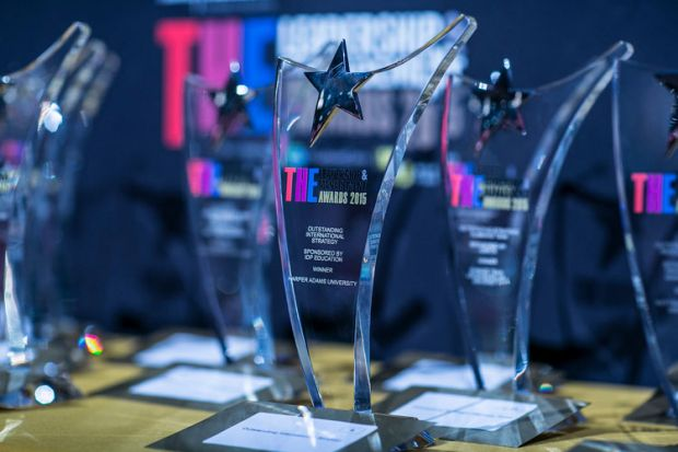 THE Leadership and Management Awards 2015 trophies