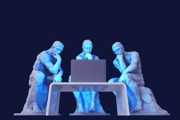 Three thinker statues stare at a computer screen