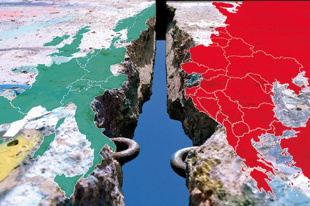 Europe split across Berlin wall