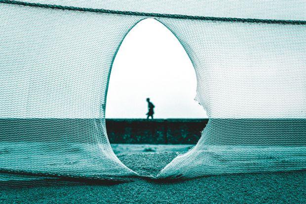 Torn fishing net
