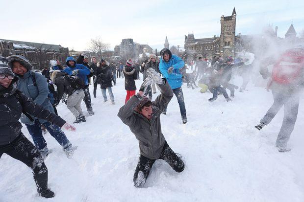 Snow fight in Toronto