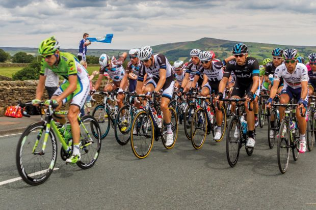 Tour de France cyclists competing, Yorkshire, England