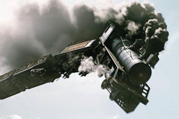 Train crashing off tracks, The Lone Ranger, 2013