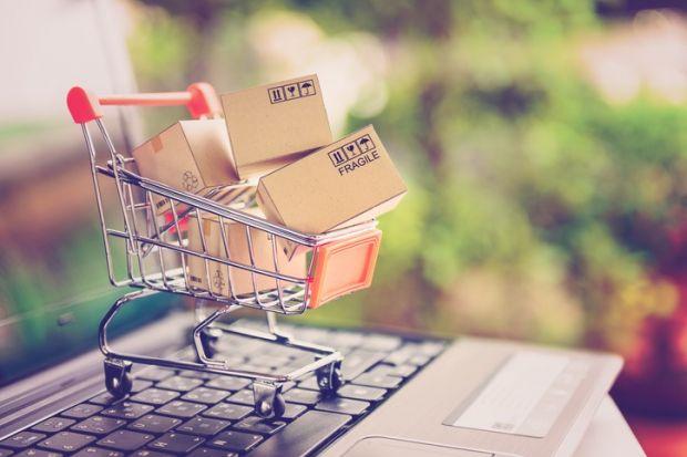 A shopping trolley on a keyboard