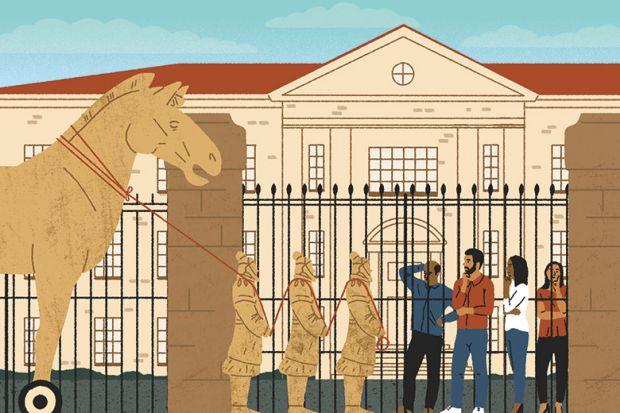 Illustration of a Trojan horse outside a university