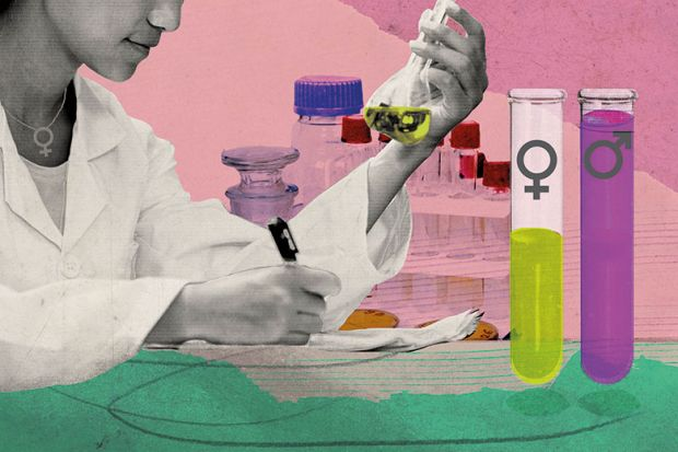 Illustration of scientist and test tubes