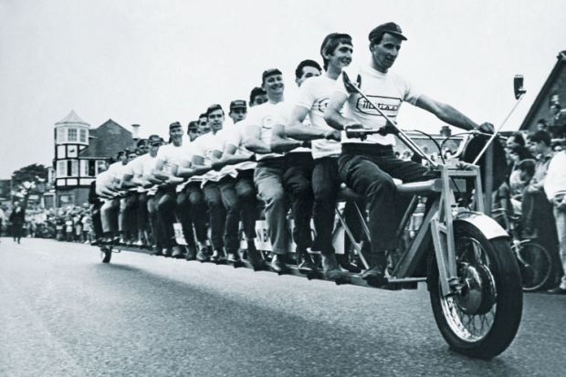Twenty men on tandem, New Milton, England