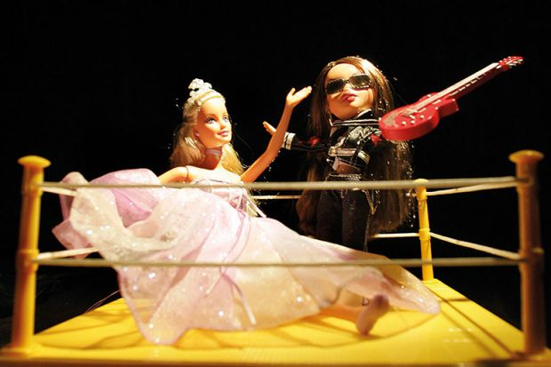 Two Barbies in boxing ring
