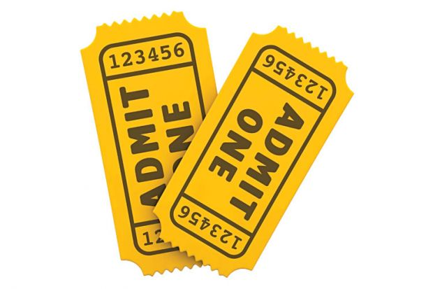 Two yellow 'Admit one' tickets