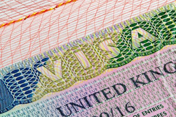 Close-up of United Kingdom (UK) visa