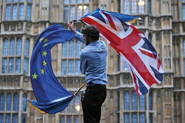 union jack and eu flags