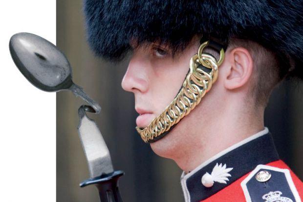 United Kingdom Queen's Guard bending spoon bayonet
