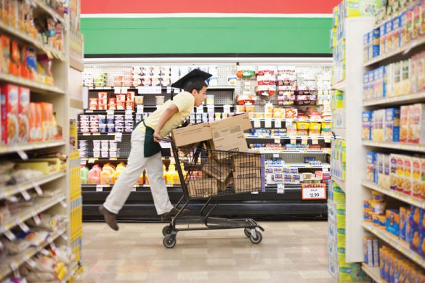 University graduate shopping in supermarket
