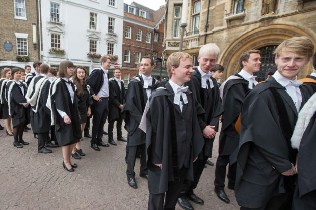 University of Cambridge students queueing on graduation day