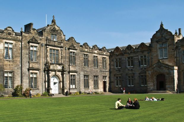 University of St Andrews students relaxing on campus