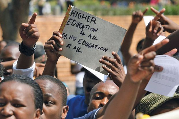 University of the Witwatersrand students protesting