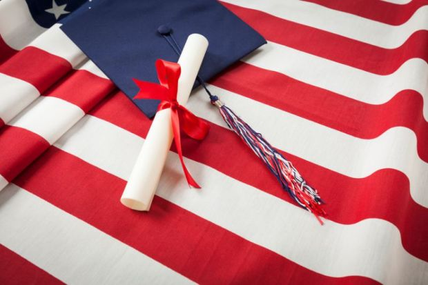 US flag with degree USA